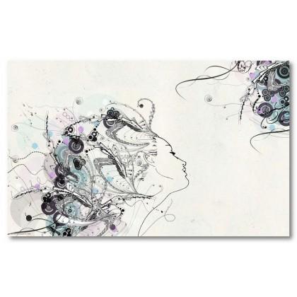 Αφίσα (αφηρημένο, κορίτσι, πρόσωπο, μαύρο, λευκό, άσπρο)